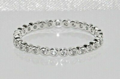 Sterling Silver 925 Sparkling Simulated Diamond Full Eternity Ring - All Sizes • 10.95£