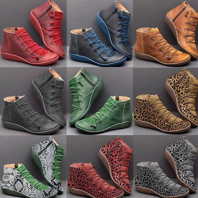 Women's Arch Support Side Zip Wedge Heel Ankle Boots Autumn Flat Comfy Shoes  • 13.96£