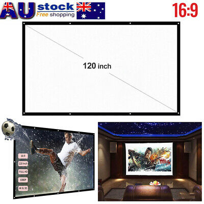 AU24.20 • Buy 120'' Portable Foldable 1080P FUll HD Projector Screen 16:9 Home Theater Cinema