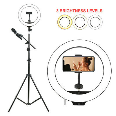 AU61.99 • Buy 10'' 6000K Dimmable LED Ring Light Diffuser Stand Mirror Make Up Studio Video AU