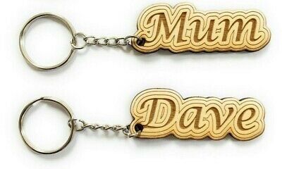 Personalised Wooden Keyring Any Name Gift Keychain Novelty Word Tag • 2.49£