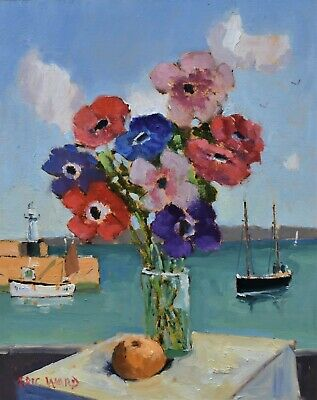Eric Ward Original Oil Painting - Anemones Flowers Still Life St Ives Cornwall • 265£