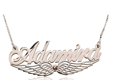 Angel Wing Name And Birthstone Necklace: Sterling Silver, 24k Gold, Rose Gold • 92.98£