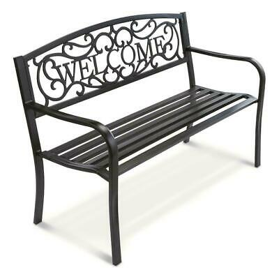 $119.99 • Buy NEW Welcome Outdoor Garden Bench Park Lawn Patio Furniture Black Metal Vines