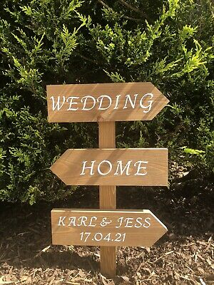 Personalised Wedding Wooden Arrow Sign • 23£