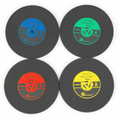 4Pcs Retro Coaster Vinyl Cup Drink Holder Mat CD Record Tableware Placemat • 3.99£