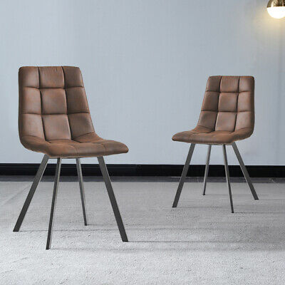 £105.99 • Buy 2x Dining Chairs Faux Leather Cushion Padded Metal Legs Restaurant Lounge Chair