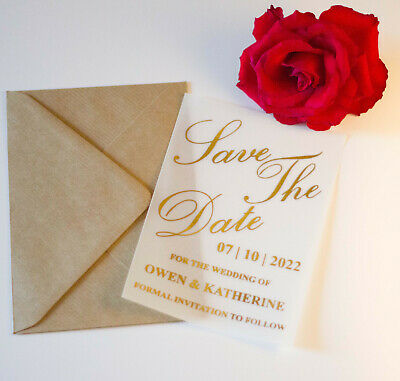 £1.50 • Buy Vellum Paper With Gold Foil Print Personalised Save The Date Cards / A6 Size