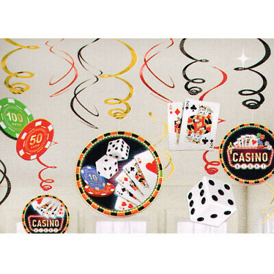$5.29 • Buy CASINO NIGHT HANGING SWIRL DECORATIONS (12) ~ Birthday Party Supplies Cutouts