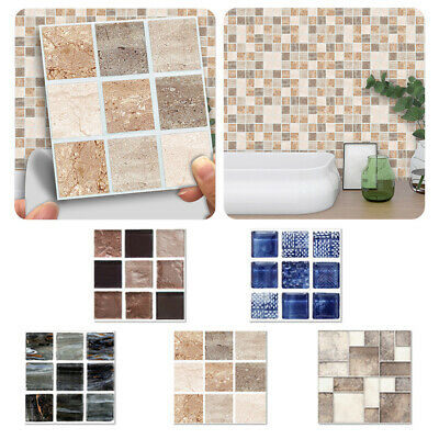 18/90x Mosaic Wall Tile Stickers Stick On Kitchen Wall Self-adhesive Bathroom UK • 16.95£