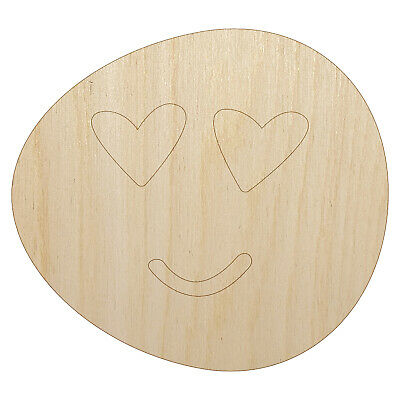$3.99 • Buy Heart Eye Love Emoticon Face Doodle Unfinished Wood Shape Cutout For DIY Craft