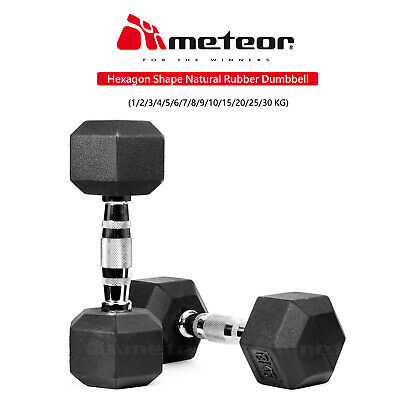 AU54.99 • Buy METEOR 1-30kg Pair Rubber Hex Dumbbell Fitness Gym Strength Weight Training