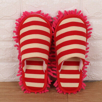 1 Pair Of Thick Lazy Stripes Cleaning Slippers, Chenille Detachable Mop Soles • 11.25£