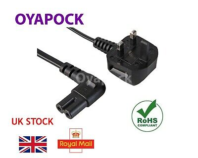 3m Right Angle Figure Of 8 Mains Cable / Power Uk Lead Plug Cord Fig Iec C7 • 6.50£