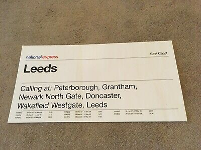 National Express  - WINDOW LABEL London King's Cross To Leeds 1D29 • 1.50£