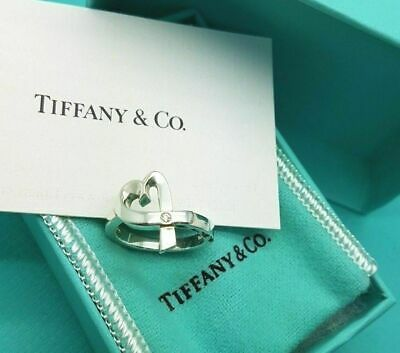 Tiffany & Co Silver Paloma Picasso Loving Heart Ring With A Diamond Size L 1/2 • 247.99£