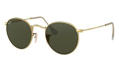 AU119 • Buy Ray-Ban Round Metal Sunglasses RB3447-001/50 Gold / Green Classic G-15 Lens