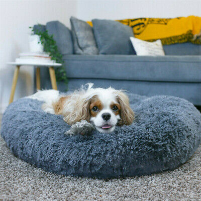 50-80CM Pet Calming Bed Round Nest Faux Fur Donut Cat Dog Beds Self Warming • 13.93£