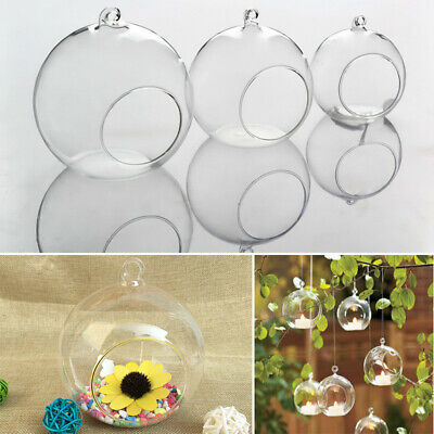 6/12/24/36pcs Glass Hanging Balls Clear Fillable Baubles Candle Tealight Holder • 8.95£