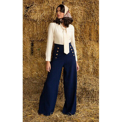 Lindy Bop 'Adonia' BNWT Sailor Stretch Wide Leg Trousers Plus Size Navy 16 22 • 12.50£