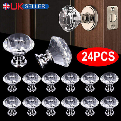 £8.99 • Buy 24Pcs Clear Crystal Glass Door Knob Handle Drawer Cabinet Furniture With Screws