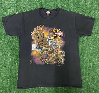 $ CDN200.01 • Buy Vintage Harley Davidson T Shirt Eagle Dragon 1988 Holoubek Size L Made In USA