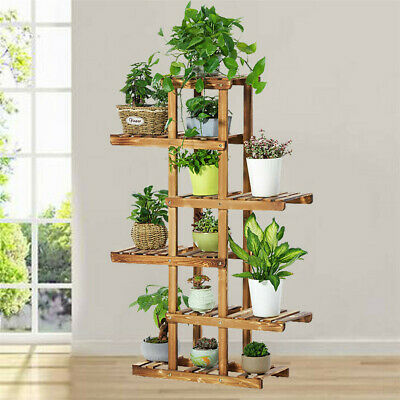 £29.95 • Buy 6 Tier Strong Flower Plant Pot Shelf Stand Display Garden Rack Step Style Wooden