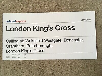 National Express - Train Window Label Leeds To London King's Cross 1A23 • 1.50£