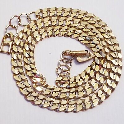 $20.40 • Buy Vintage Gold Tone FLAT SNAKE Chain Necklace 24  Retro 80's Mens Womens 4MM Wide