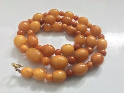 Antique Baltic Yellow Butterscotch Amber Bead Necklaces 22 Grams • 550£