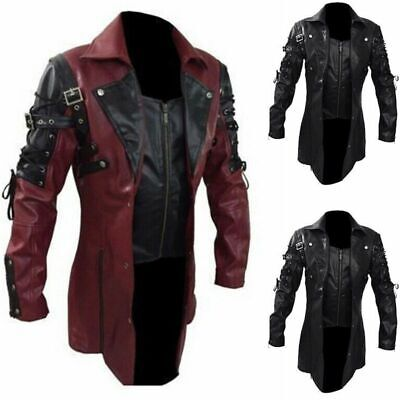 Punk Rave Jacket Mens Faux Gothic Leather Goth Steampunk Military Coat Trench • 41.69£