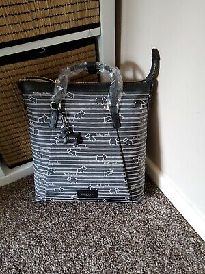 RADLEY Stripe Black  Medium Oilcloth Backpack New With Tags Rrp £109 • 74.99£