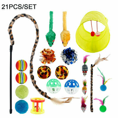 AU18.79 • Buy 21x Cat Toys Kitten Rod Fur Pet Toys Feathers Mice Bells Balls Catnip Stick AU