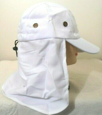 $7.95 • Buy Neck Cover Sun Protection Hat White Fishing Hunting Walking Back Flap Cap