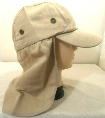 $7.95 • Buy Neck Cover Sun Protection Hat Khaki Fishing Hunting Walking Back Flap Cap