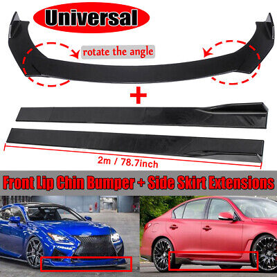 $129.19 • Buy Universal Car Front Bumper Lip Splitters+78.7  Side Skirts Extension For BMW VW