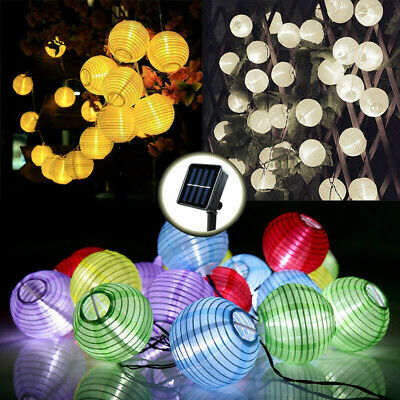 LED Solar Power Chinese Lantern Fairy String Lights Garden Festival Party Decor • 9.99£