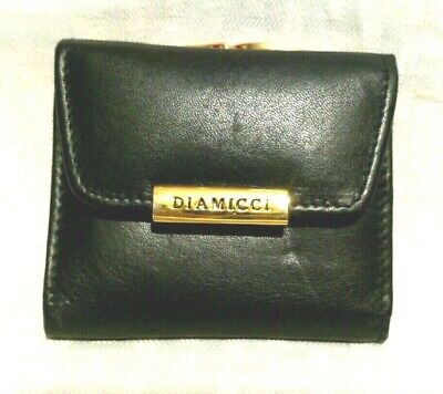 $26.60 • Buy Vintage Diamicci Small Black Wallet - Coin Purse Black Leather Gold Accent