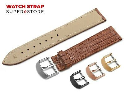 For OMEGA Watch Brown Strap Band Genuine Leather Lizard Style Buckle Clasp +Pins • 9.49£