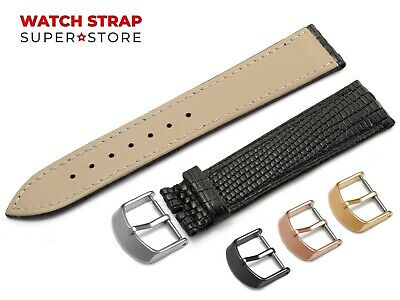 For OMEGA Watch Black Strap Band Genuine Leather Lizard Style Buckle Clasp +Pins • 9.49£