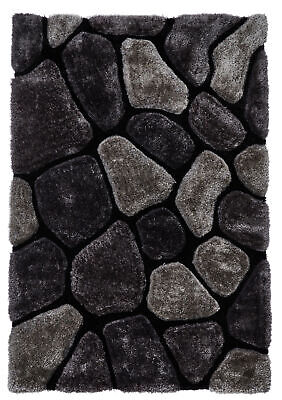 Black & Grey Pebble Rug Shaggy Pile Noble House Soft Hand Tufted Home Décor Mat • 166.99£