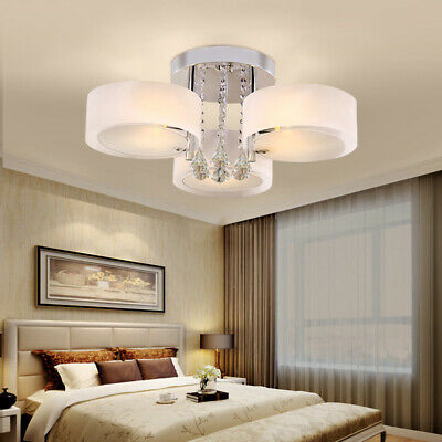 £45.95 • Buy Round 3 Way LED Crystal Ceiling Lights Chandelier Lampshade For Kitchen Bedroom