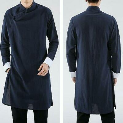 $39.44 • Buy Chinese Style Mens Cotton Linen Solid Loose Long Gown Jackets Hanfu Tang Suit