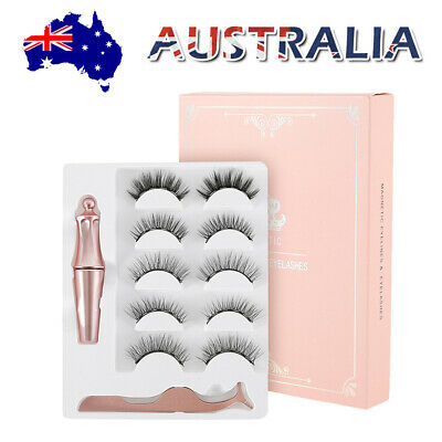 AU15.39 • Buy 5x Magnetic Eyelashes False Natural Eye Lashes Extension Liquid Eyeliner Tweezer