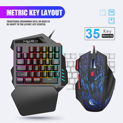 AU32.58 • Buy HXSJ One-Handed Gaming Keyboard 35 Keys LED Backlight + Wired Gaming Mouse