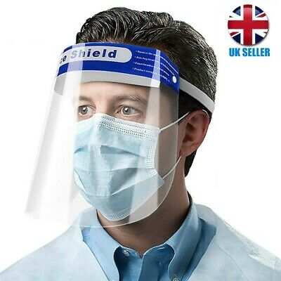 Full Face Shield Visor Protection Mask Sheild Safety Clear PPE  UK SHIPPING • 6.99£