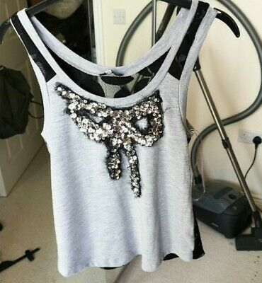 River Island Y2K Crop Lace Back Sequin Grey And Black Cami Vest Top Size 6  • 2£