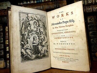 $30.99 • Buy 1751 THE WORKS OF ALEXANDER POPE - The Rape Of The Lock, Essays On Criticism