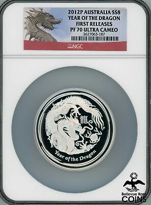 $152.21 • Buy 2012-P Australia $8 Dragon 5 Oz .999 Silver First Releases NGC PF70 Ultra Cameo