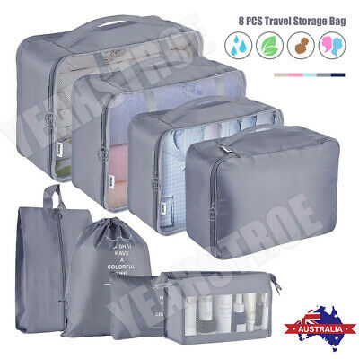 AU22.50 • Buy 8Pcs Packing Cubes Cube Travel Pouches Luggage Organiser Suitcase Storage Bags
